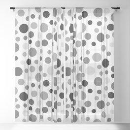 Black & White Polka Dot Pattern Sheer Curtain