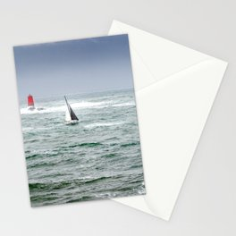 Sailing boat in the sea with stormy weather Stationery Cards