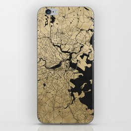 Boston Black and Gold Map iPhone Skin