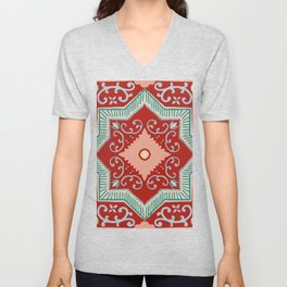 traditional bohemian mint green grey coral red ornate Mediterranean Pattern Unisex V-Neck