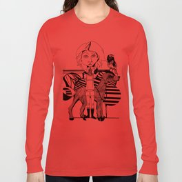 the girl, her dog and a bird Long Sleeve T-shirt