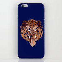 beauty and the beast iPhone & iPod Skins featuring beast by Rebecca McGoran