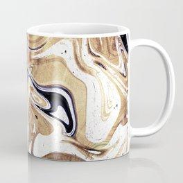 Metallic Gold Purple White Marble Swirl Coffee Mug