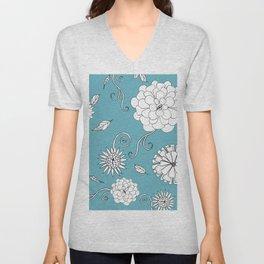 Sweet daisies on turquoise blue Unisex V-Neck