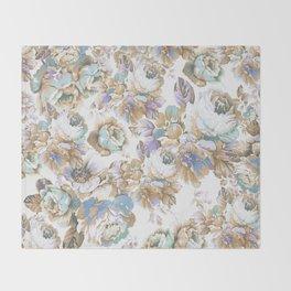 Vintage blush lavender brown teal blue roses floral Throw Blanket
