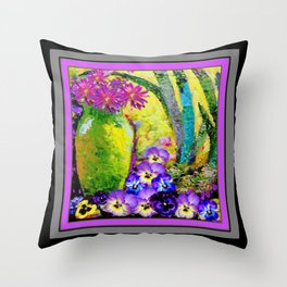 Chartreuse-Violet art Vase Pansies Floral Painting Throw Pillow