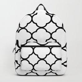 White & Black Quatrefoil Moroccan Backpack