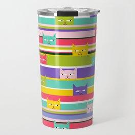 Colorful Peeking Cats on stripes Travel Mug