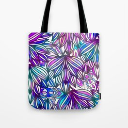 Hand painted neon pink teal blue watercolor floral Tote Bag