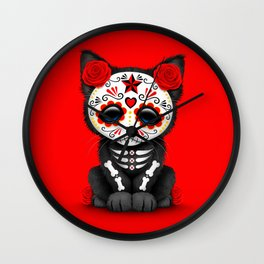 Cute Red Day of the Dead Kitten Cat Wall Clock