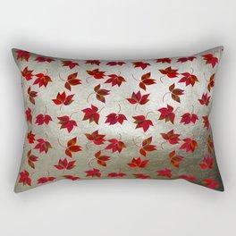 Red Leaves on Silver Golden Metal Rectangular Pillow