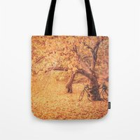 new york city Tote Bags featuring Autumn - New York City by Vivienne Gucwa