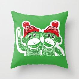 Sock Monkeys Art Throw Pillow