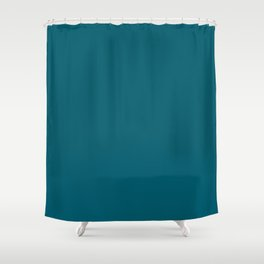 Sherwin Williams Trending Colors of 2019 Oceanside (Dark Aqua Blue) SW 6496 Solid Color Shower Curtain