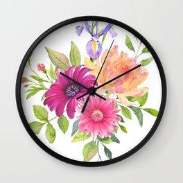Flowers bouquet, Iris, Dalia, and Gerber Wall Clock