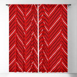 Diagonal Mudcloth Red Blackout Curtain
