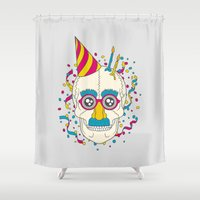 happy birthday Shower Curtains featuring Happy Birthday by John Tibbott