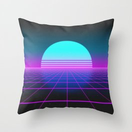 80's Retro Neon Grid Throw Pillow