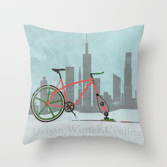 Urban Winter Cycling Throw Pillow