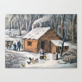 Vintage Home in The Wilderness Painting (1870) Canvas Print