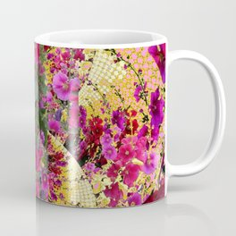 CORAL PINK & HOLLYHOCKS ABSTRACT GARDEN Coffee Mug