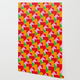 Green red Orange pink coloured mosaic with edges and squares and rectangular shapes and others Wallpaper