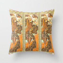 """Alphonse Mucha """"The Moon and the Stars Series: The Evening Star"""" Throw Pillow"""