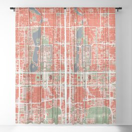 Beijing city map classic Sheer Curtain