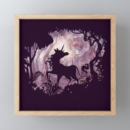 Unicorn in magical forest Framed Mini Art Print