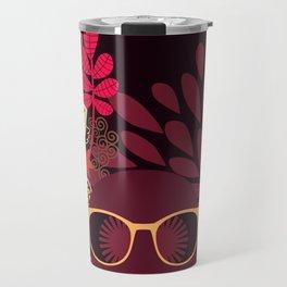 Afro Diva : Sophisticated Lady Deep Pink & Burgundy Travel Mug