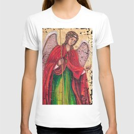 Archangel Gabriel Fresco With A Crackled Finish for #Society6 T-shirt