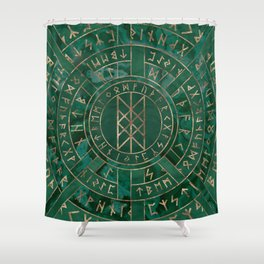 Web of Wyrd - Malachite, Leather and Golden texture Shower Curtain