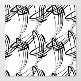 Monochrome pattern lines for decoration in Victorian style on a white background. Canvas Print