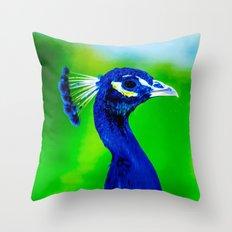 Peacock V Throw Pillow