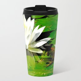 Frog with lily flower reflection Travel Mug