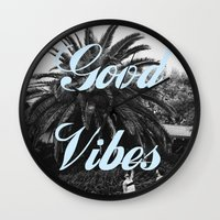 good vibes Wall Clocks featuring good vibes by Hannah