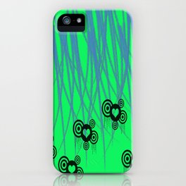 Green Teal Slasher Hearts  iPhone Case