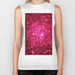 Hot Pink Glitter Galaxy Stars Biker Tank