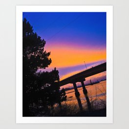 Colorful Sunset to end a Cloudy Day on Casco Bay Art Print