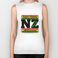 new zealand Biker Tanks featuring New Zealand  by mailboxdisco
