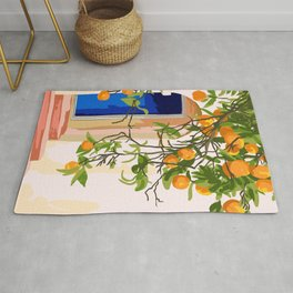 Wherever you go, go with all your heart,Summer Orange Tree Travel Luxury Villa Spain Greece Painting Rug