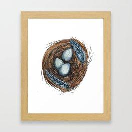 Blue Bird Nest Framed Art Print