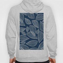 Elegant navy blue silver glitter abstract foliage  Hoody