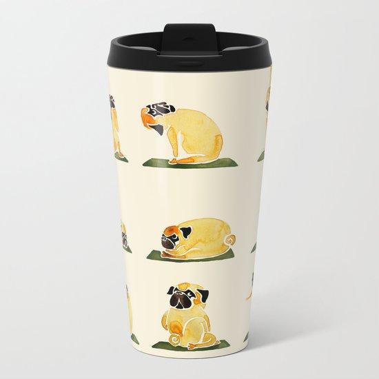 Pug Yoga Watercolor Metal Travel Mug