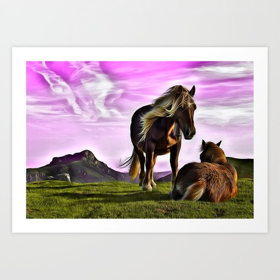 Horses In A Magical Land Art Print