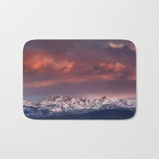 """Mysterious mountains"""". Sunset at the mountains. Bath Mat"""