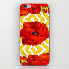 YELLOW CONTEMPORARY ORANGE-RED POPPY PATTERNS iPhone Skin