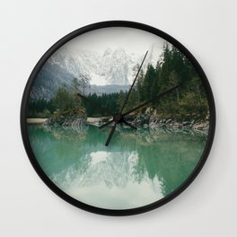 Turquoise lake - Landscape and Nature Photography Wall Clock