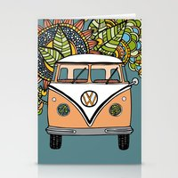 vw bus Stationery Cards featuring VW bus by Woosah