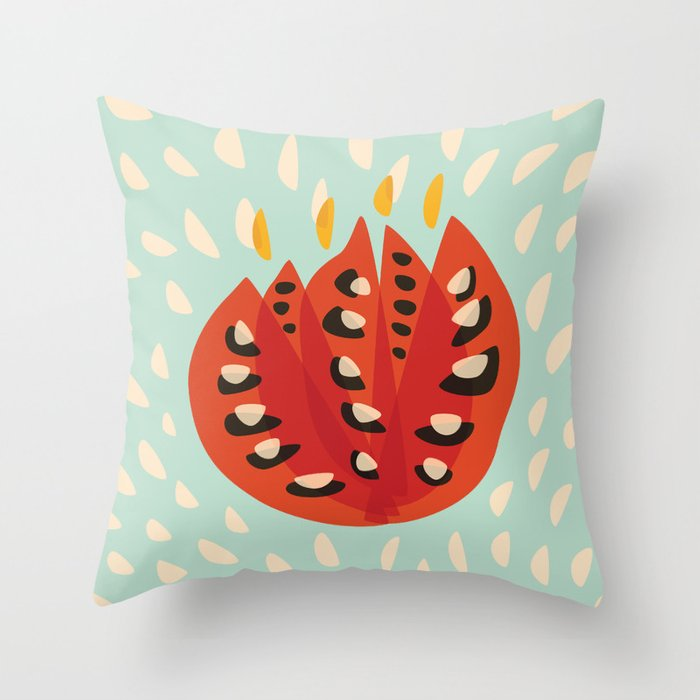 Red Abstract Tulip Throw Pillow